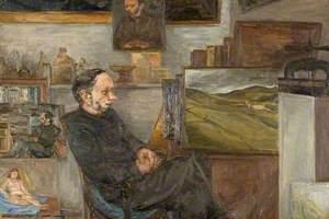 Leon Kossoff (b.1926), with 'A Landscape near Rieti'
