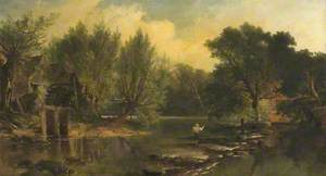 River Scene with an Angler