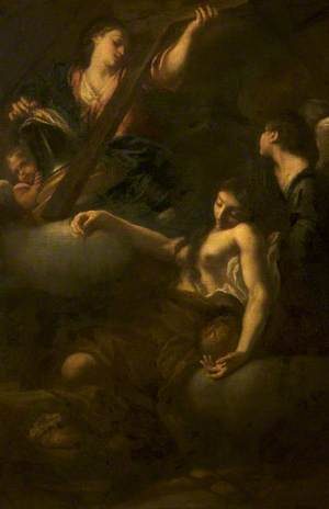 A Penitent Magdalen Fainting before a Vision of an Angel