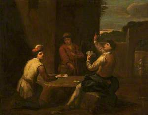 Two Men Playing Cards Outdoors, Watched by a Youth