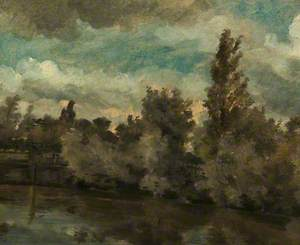 Landscape (Stream with a Bank of Trees)