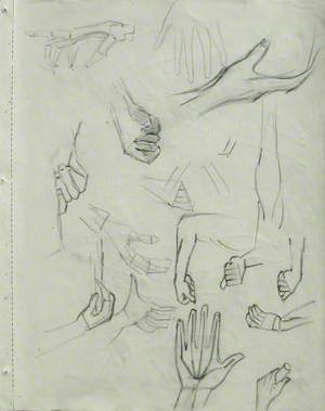 Hand in Various Attitudes & Figures Showing the Musculature