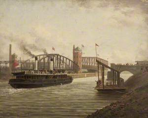 'The Snowdrop' with the Directors of the Manchester Ship Canal Passing Barton Bridges, 7 December 1893