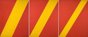 Three Yellow Diagonals on Red