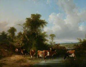 Landscape with Cattle by a Stream
