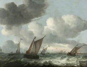 Fishing Boats off the Coast in a Choppy Sea
