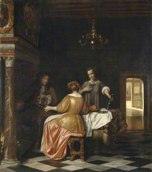 Interior with a Gentleman and Two Ladies Conversing