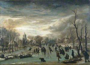 Skating Scene: Figures on a River Flowing through a Village
