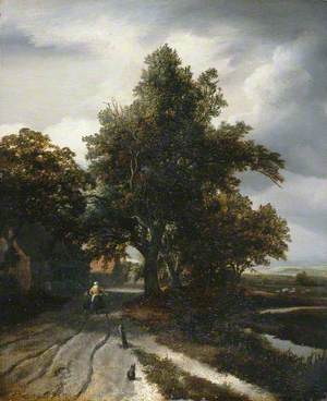 Landscape with a Woman and Child Walking along a Wooded Country Lane
