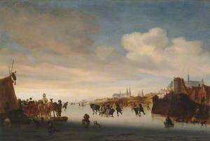 Winter Scene with Sledges and Skaters on a River