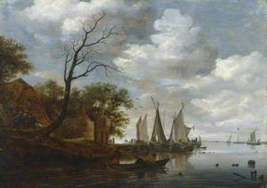 River Scene with Sailing Boats Unloading at the Shore