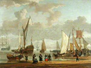 Coast Scene with Shipping Anchored Off-Shore and Figures on a Beach in the Foreground