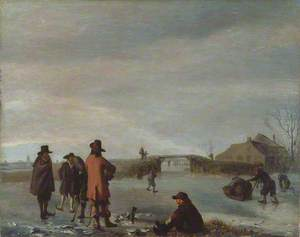 Winter Scene with a Group of Golfers on a Frozen River