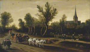 Landscape with Riders in a Carriage Passing a Church