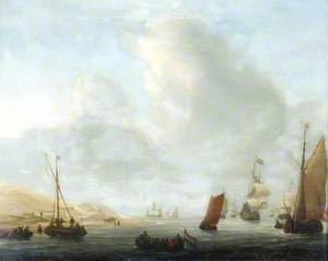 Sailing Vessels Passing a Coast of Sand Dunes
