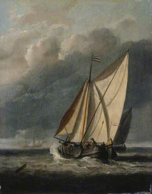 Seascape: With a Yacht Sailing under a Rainy Sky