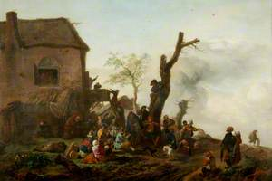 Landscape with a Large Number of Peasants Merrymaking in front of a Cottage