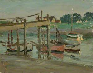 Walberswick, Boats on the Blythe at a Wooden Jetty
