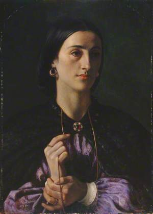 A Lady with a Gold Chain and Earrings