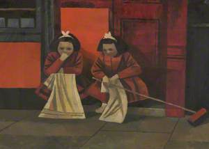 Two Young Girls on Doorstep