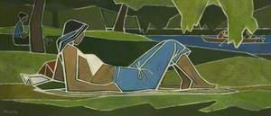 Woman Sunbathing in Park