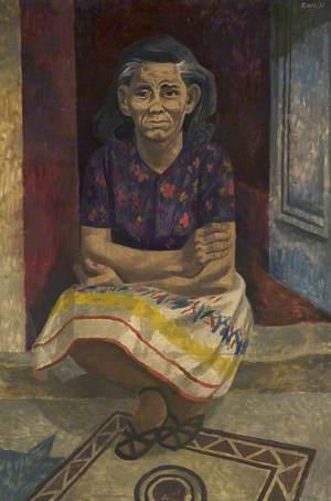 Woman Sitting on Doorstep