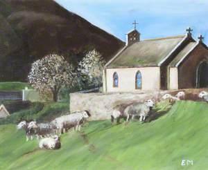 Sheep by a Church