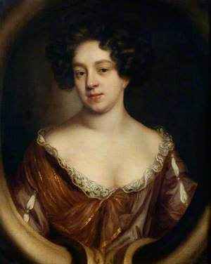 Portrait of a Lady, Half-Length, in a Brown Dress Trimmed with Lace, in a Sculpted Cartouche