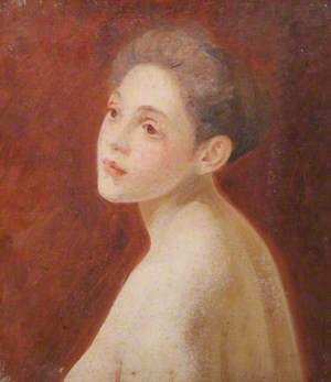 Girl with Bare Shoulders against a Reddish Background