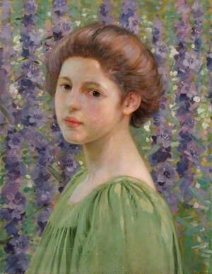 Portrait of a Girl amongst Purple Delphiniums