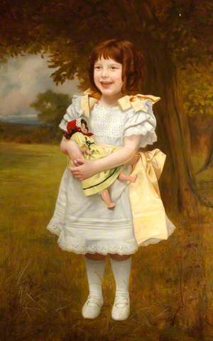 Portrait of a Small Girl Standing with a Doll