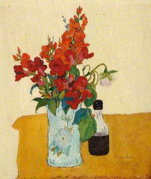 Vase with Flowers and Bottle