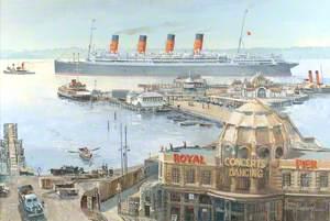 Cunard White Star RMS 'Aquitania', Leaving Royal Pier, Southampton, 1948