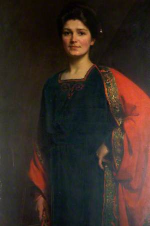 Portrait of a Woman in a Black and Red Dress
