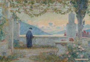 Monk on Monastery Balcony