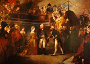Lord Howe Receiving the Sword of Honour from George III on 'Queen Charlotte', 1794