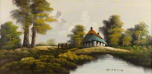 House by a Lake with Trees