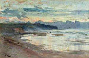 A Coastal Scene at Sunset