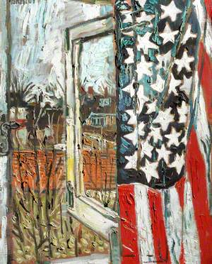 From the Coach House Window, Curtained with a 45 Star Flag
