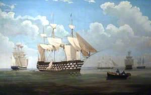 HM Ships 'Pique', 'Vanguard', 'Daphne', 'Queen' and 'Vernon'