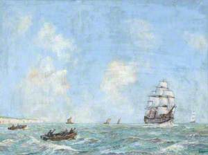 HMS 'Victory' off the South Foreland en route to Portsmouth