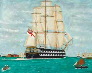 HMS 'Edgar' Leaving Portsmouth under Sail