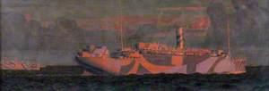 HMS 'Almanzora' and Convoy at Sunrise, 1917