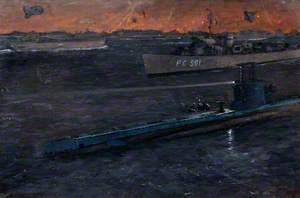 Salerno, HM 'Submarine Shakespeare' Acting as a Marker for Invasion Fleet, 9 September 1943