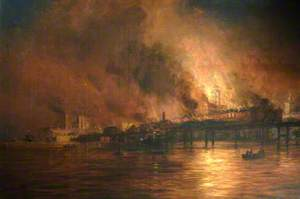 The Burning of the Old Semaphore Tower, Portsmouth, 20 December 1913