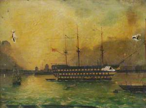HMS 'Victory' in Portsmouth Harbour, c.1900