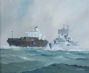 HMS 'Glasgow' and Atlantic Conveyor
