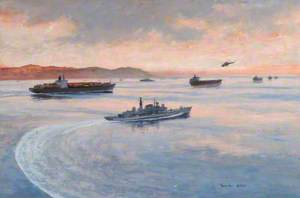 HMS 'Gloucester' on the Armilla Patrol Escorting a Convoy of Container Ships through the Strait of Hormuz