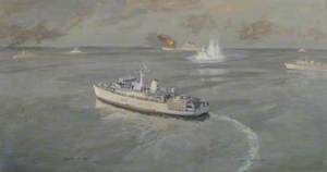 HMS 'Gloucester', USS 'Missouri', USS 'Adroit', HMS 'Ledbury', HMS 'Dulverton', HMS 'Cattistock' and HMS 'Atherton'