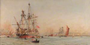 Wooden Warships on the Medway (Man O'War at Anchor)